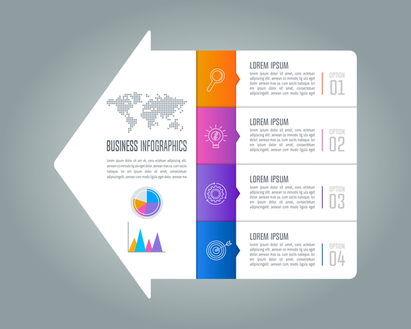 Arrow with business infographic vector 01