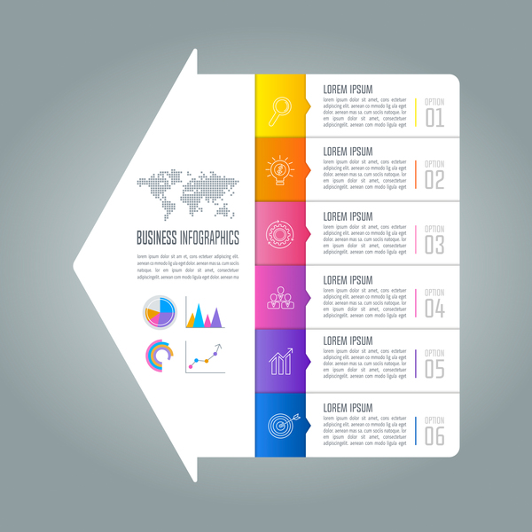 Arrow with business infographic vector 03