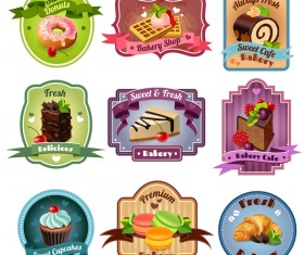 Bakery with cupcake labels vector desing