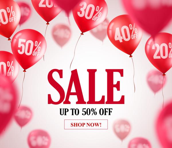 Balloon blurs sale background vector 01