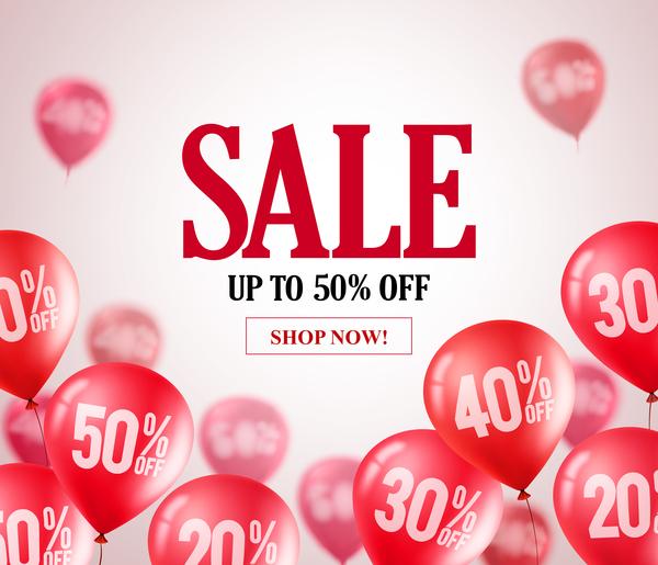 Balloon blurs sale background vector 02