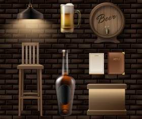 Bar decor elements vector material
