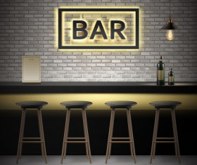 Bar interior design vector material