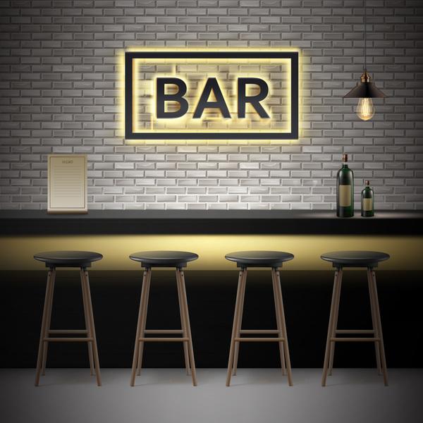 Bar interior design vector material