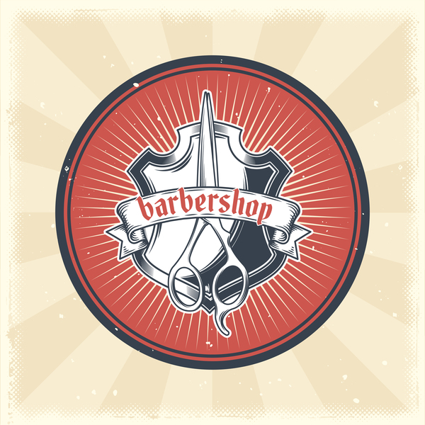 Barbershop retro badge vector material 02