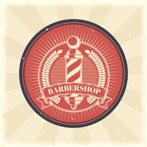 Barbershop retro badge vector material 05