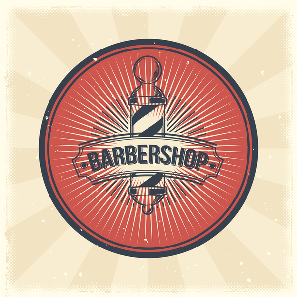 Barbershop retro badge vector material 06
