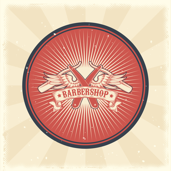 Barbershop retro badge vector material 10