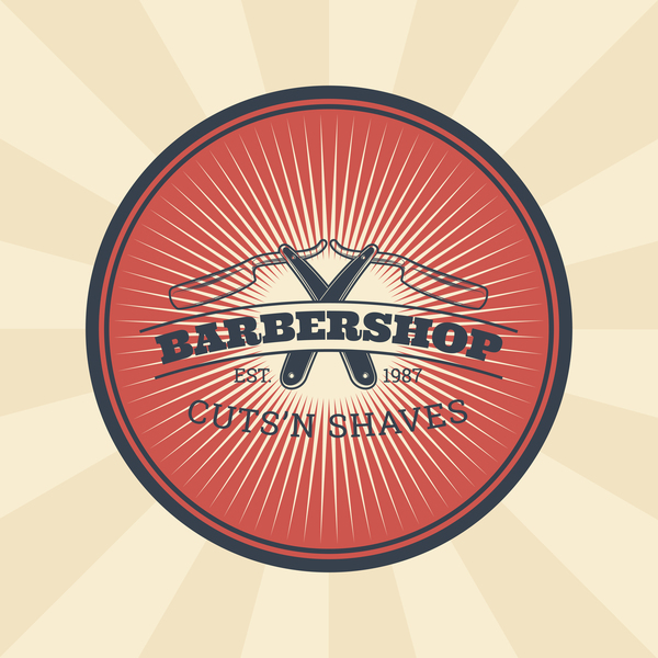 Barbershop retro badge vector material 11