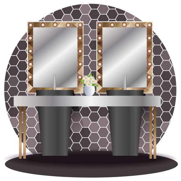 Bathroom elevation interior vector