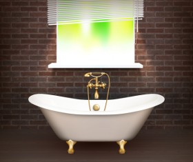 Bathroom interior design realistic vector 01