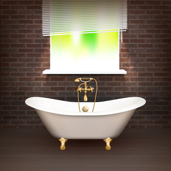 Bathroom interior design realistic vector 01