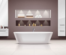 Bathroom interior design realistic vector 02