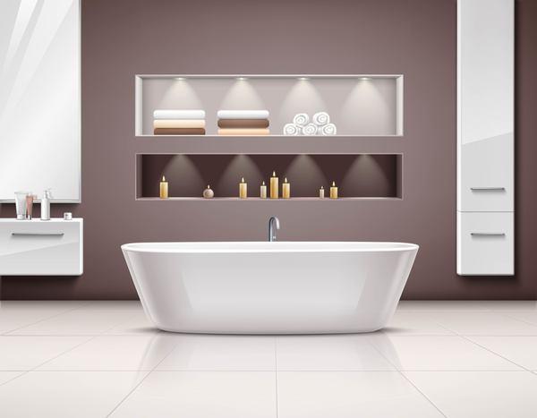 Bathroom interior design realistic vector 02