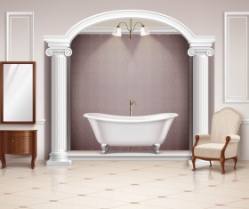 Bathroom interior design realistic vector 03