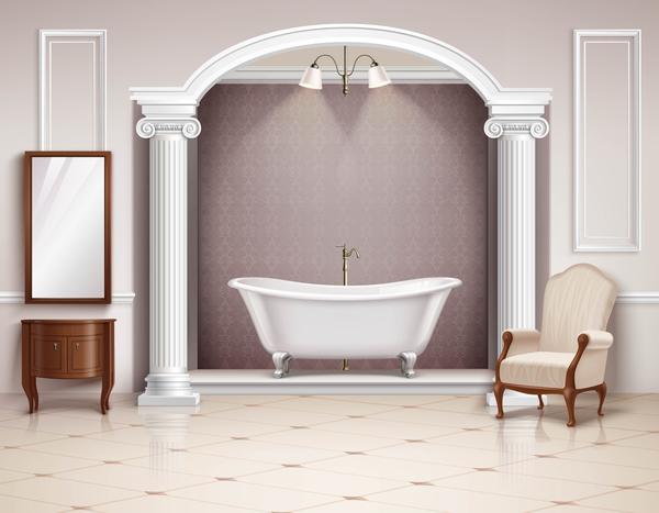 Bathroom interior design realistic vector 03