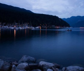 Beautiful lake wharf night view Stock Photo