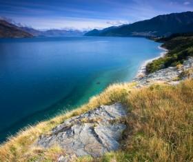 Beautiful mountain lake scenery Stock Photo