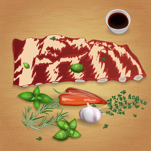 Beef rib chops with sauces and spices vector 02