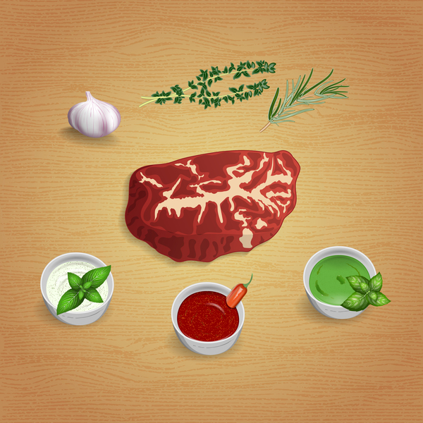 Beef with sauces and spices vector 01