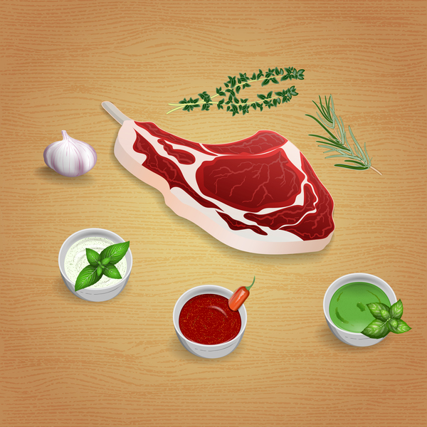 Beef with sauces and spices vector 02