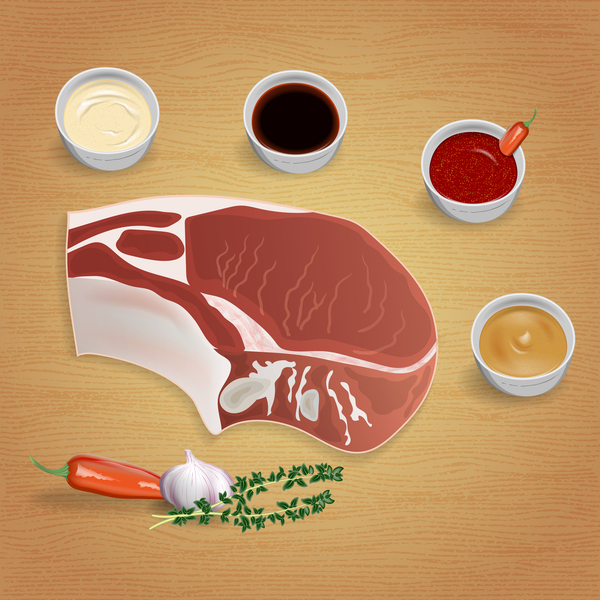 Beef with sauces and spices vector 03