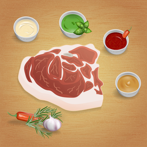 Beef with sauces and spices vector 04