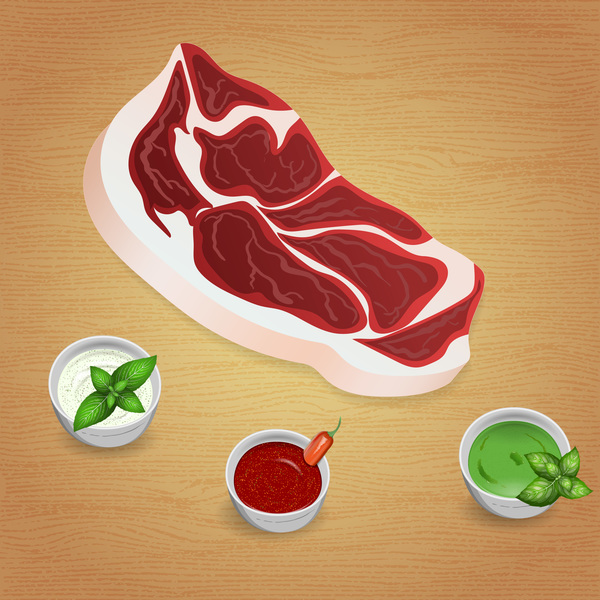 Beef with sauces and spices vector 08