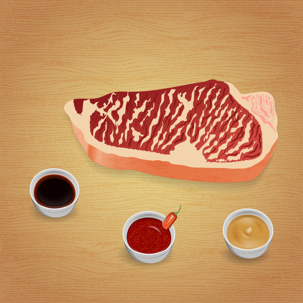Beef with sauces and spices vector 09