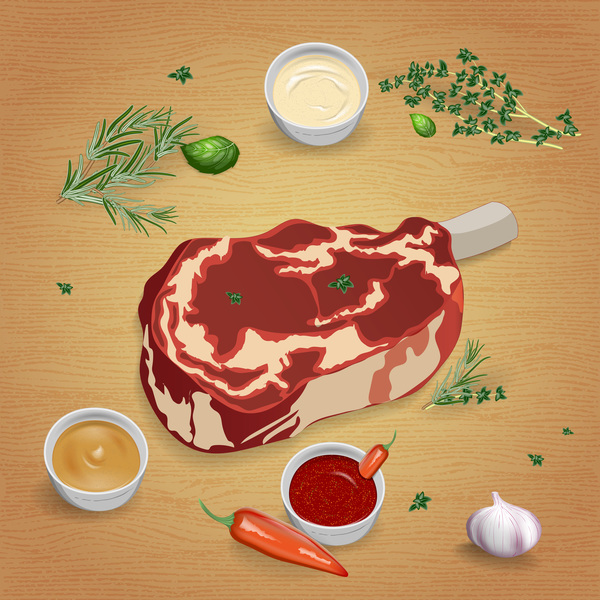 Beef with sauces and spices vector 10