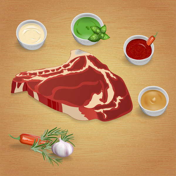 Beef with sauces and spices vector 13