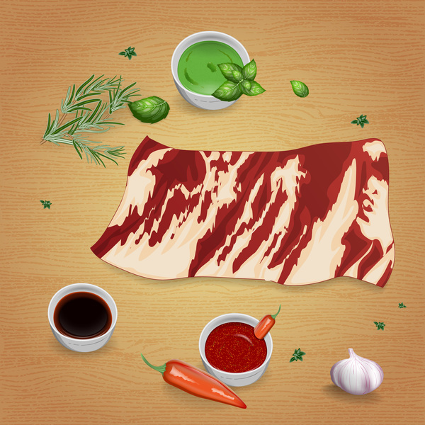 Beef with sauces and spices vector 14