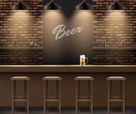 Beer bar interior design vector