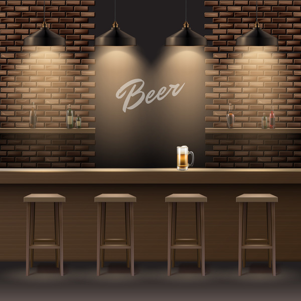Beer bar interior design vector background