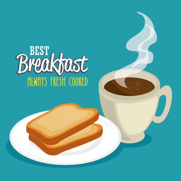 Best breakfast with coffee vector 02
