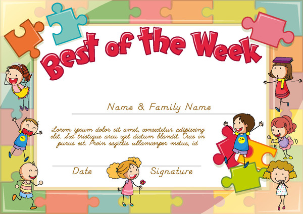 Best the week kids template design vector