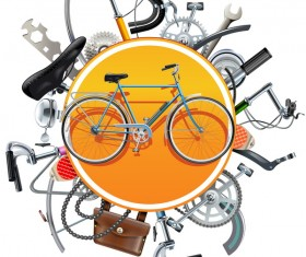 Bicycle Spares Concept with Bike vector