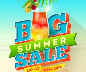 Big sale creative summer poster vector