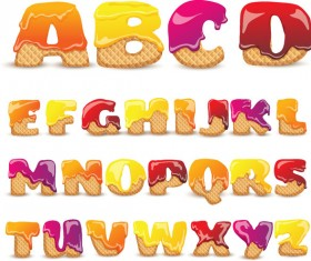 Biscuits and jams alphabet vecotr