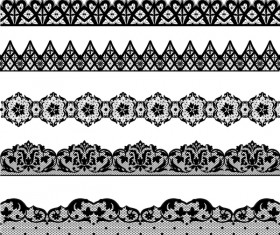 Black lace seamless borders set vector 01