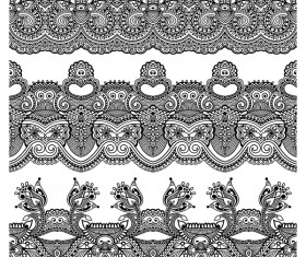 Black lace seamless borders set vector 02