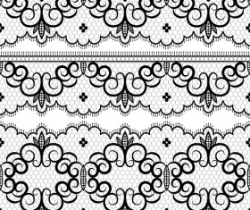Black lace seamless borders set vector 03