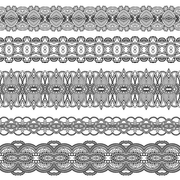 Black lace seamless borders set vector 04