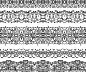 Black lace seamless borders set vector 05