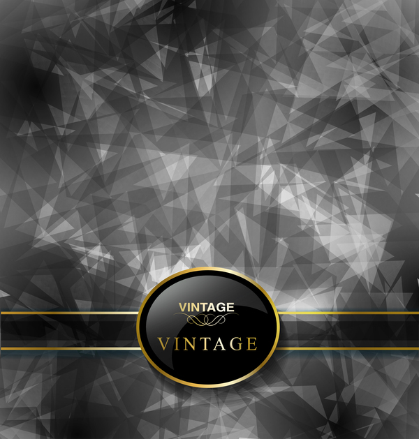 Black polygon with ornate vintage background vector