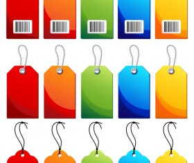 Blank colored tag vector set