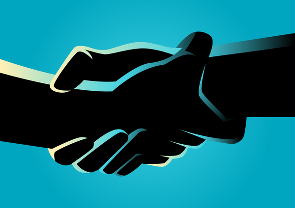 Blue Silhouette Holding Hands vector