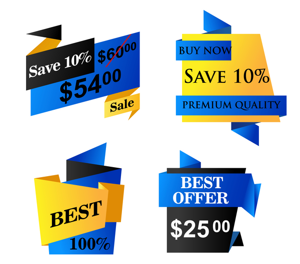 Blue origami sale banners vector