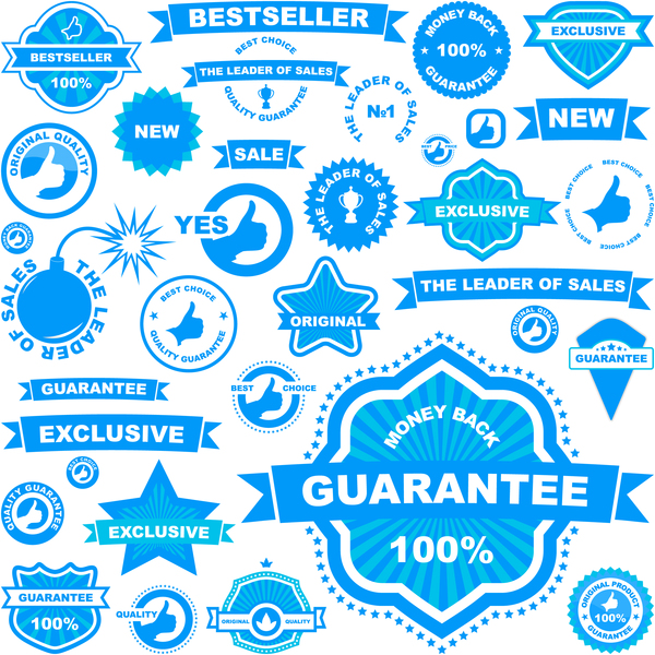 Blue retro labels with ribbon vector