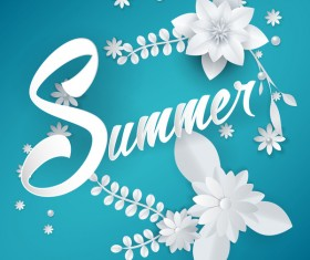 Blue summer background with white flower vector